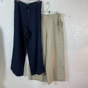 For Cynthia  Lot of 2 pr 100% linen Wide Leg Pants
